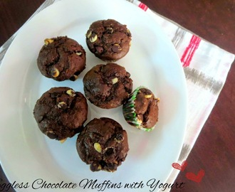 Eggless Choco Chips Chocolate Muffins with Yogurt ~ Egg Substitutes in Baking