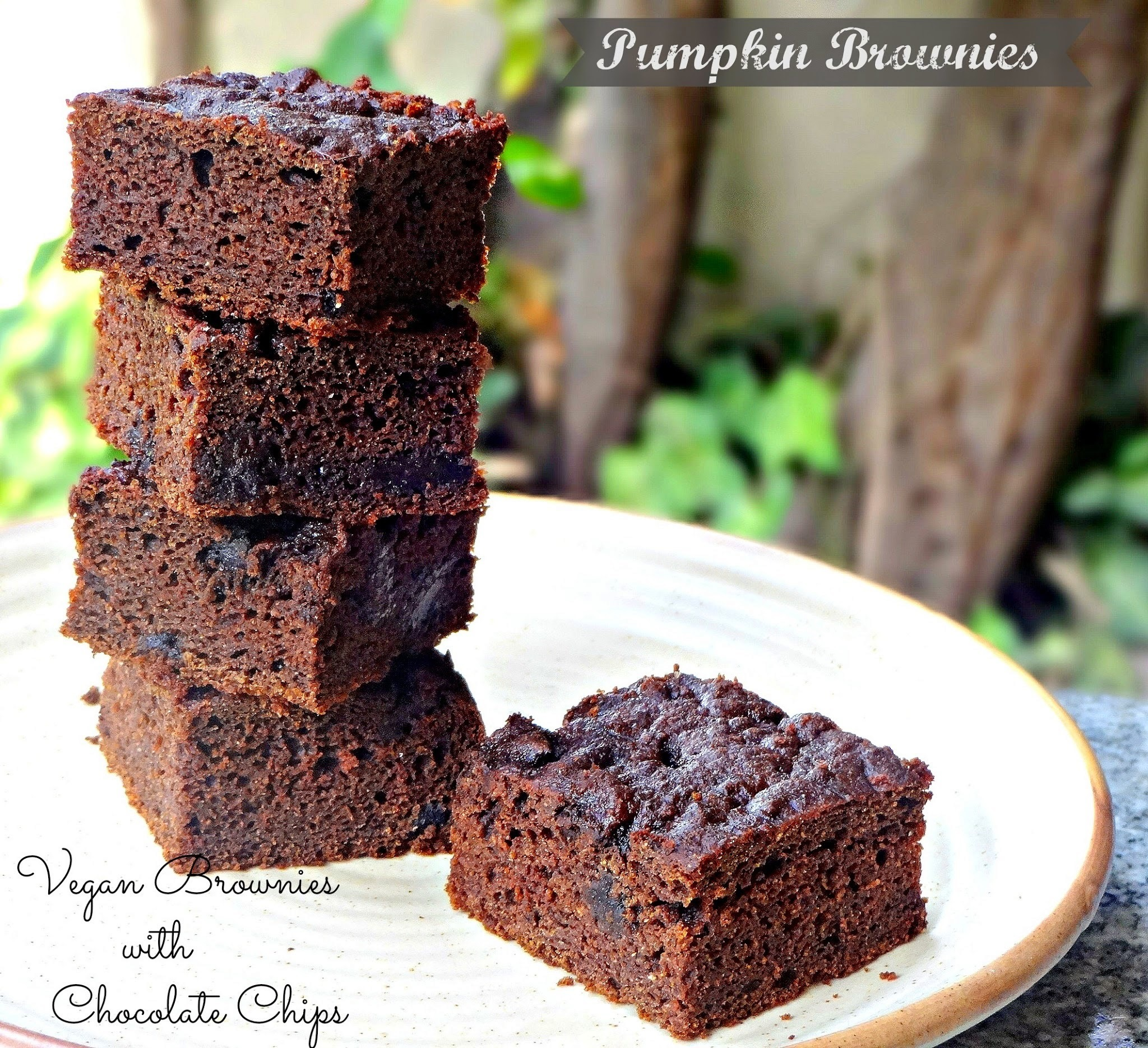 Vegan Wholegrain Pumpkin and Banana Chocolate Brownies with Chocolate chips | Double chocolate Pumpkin and Banana Brownies| Fat less Brownies
