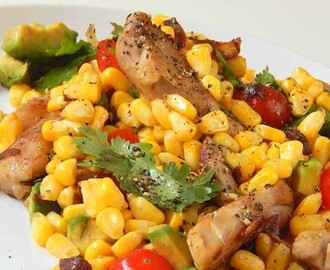 Chicken and Corn Salad Recipe with Avocado in less than 30 mins