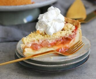 Rhubarb Strawberry Pudding Streusel Cake