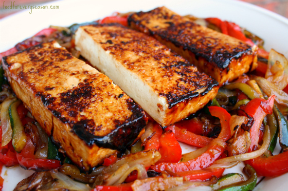 Sesame Garlic Tofu with Stir Fried Vegetables