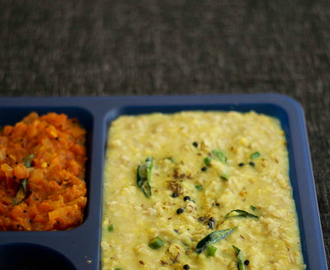How to make Oats Pongal (Oats With Split Mung Dal) and Tomato Gotsu Recipe