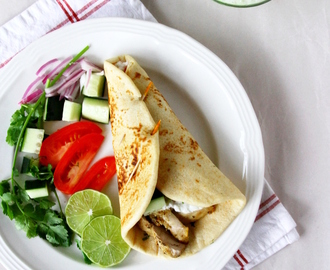 Chicken Gyro Wraps {With Homemade Flatbreads, Grilled Chicken And Tzatziki Sauce}