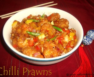 Chilli Prawns Recipe / Chinese Chilli Prawns Recipe / Dry Chilli Prawns Recipe