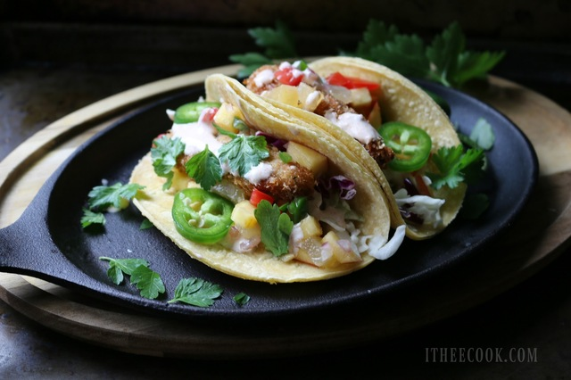 Coconut Chicken Tacos with Peach Salsa and Cilantro Lime Slaw
