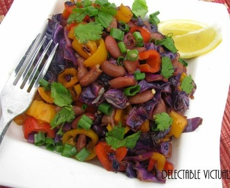 Colorful Mini Peppers, Red Cabbage, Kidney Beans Warm Salad