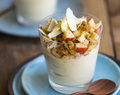 White Chocolate and Mascarpone Mousse with Raw Apple Crumble