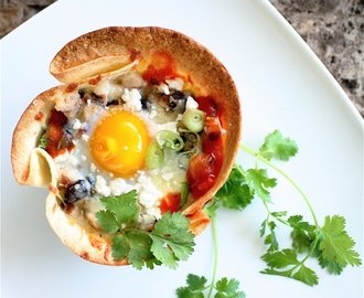 Huevos Rancheros in Tortilla Cups