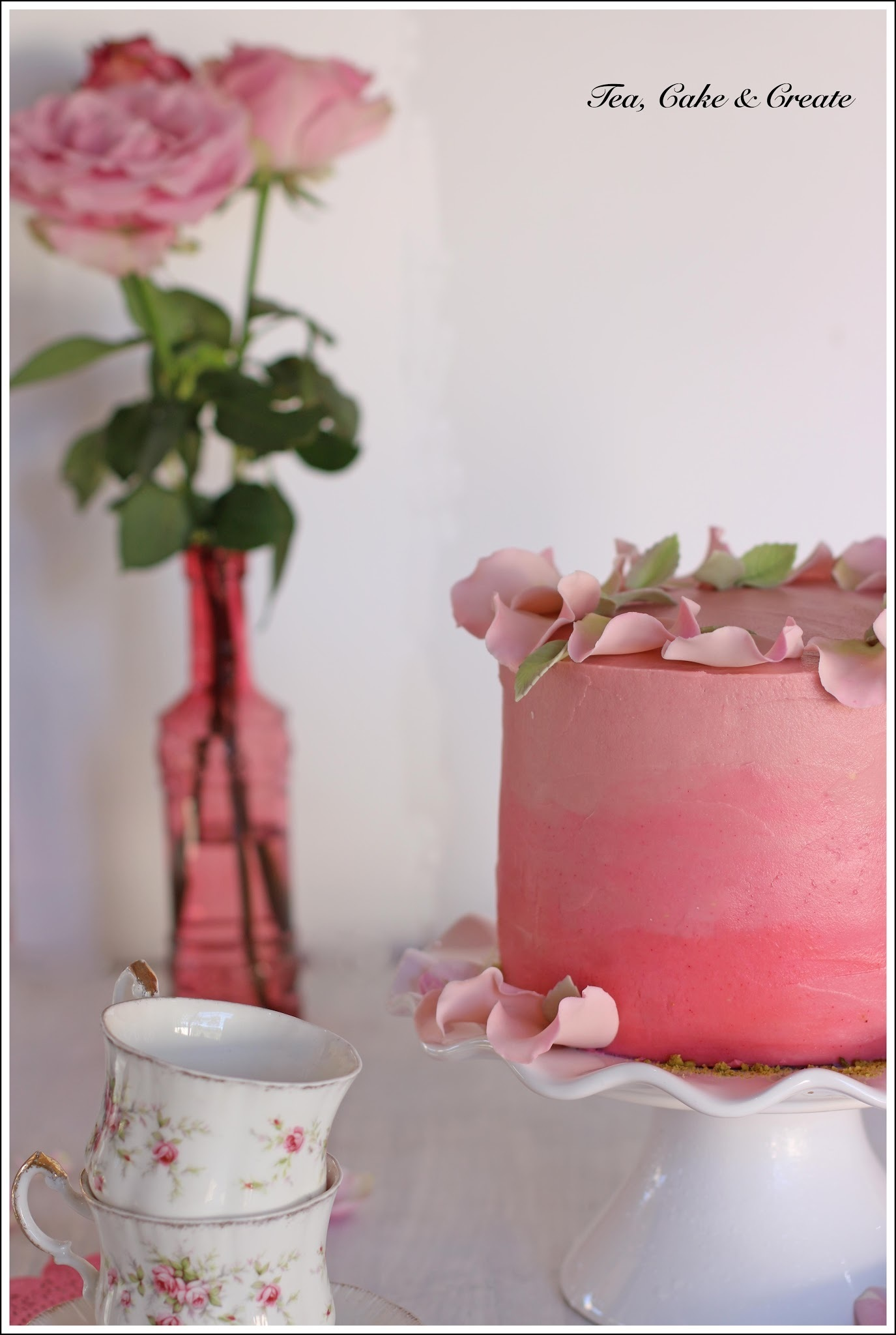 Vanilla Cake with Creamy Rose Water Icing