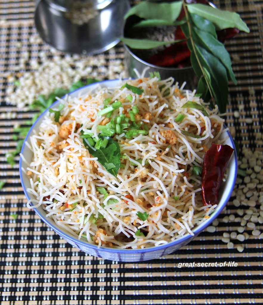 Urad dhal Sesame seeds Rice noodle - Urad dhal usili Sesame seeds rice noodle - Sevai recipes - Left over idiyappam recipe