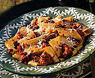 Pasta with Veal, Sausage and Porcini Ragù