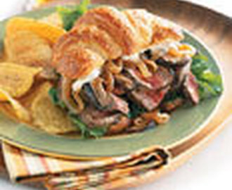 Croissant Steak Sandwiches with Caramelized Onions and Horseradish Mayonnaise