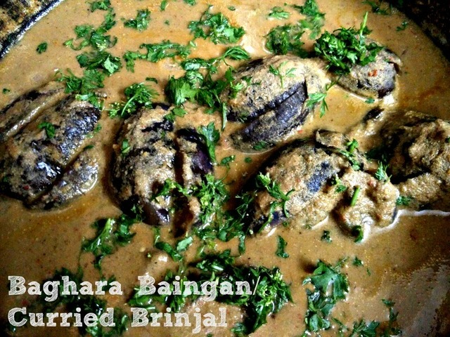 Baghara Baingan/ Curried brinjal recipe