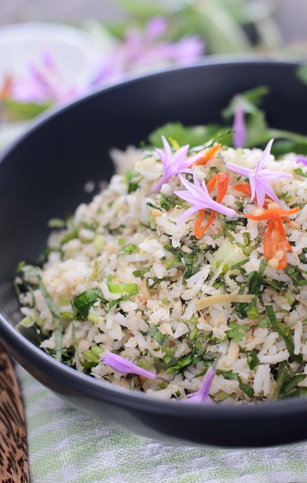 Asian Herbs Rice Salad / Nasi Ulam