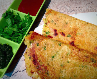 Moong Dal, Oats and Paneer cheese, Lentil, Oats and Paneer savoury pan cakes