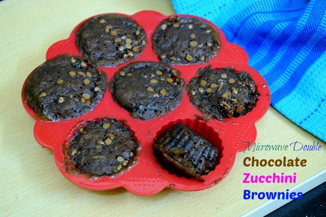 Microwave Double Chocolate Zucchini Brownies | Eggless Zucchini Chocolate Brownie