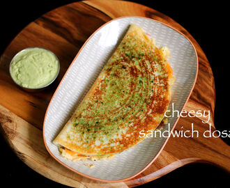 cheesy sandwich dosa recipe | sandwich uttapam recipe