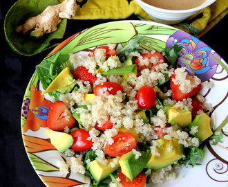 Quinoa, Kale, Avocado, Strawberry and Cherry tomatoes with Roasted Sesame seeds salad - Healthy salad recipes - Starter Recipe