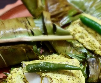 Bhetki  Macher Paturi  (Barramundi  Fish Fillets  wrapped  in Banana  leaf )