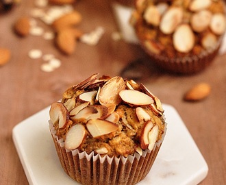 Eggless Wholewheat Maple Banana Oat Muffins #BreadBakers