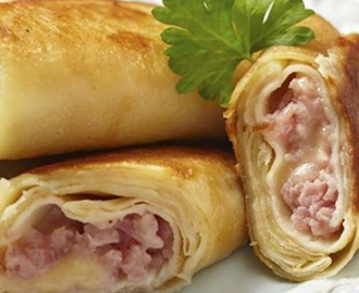 Crepes Stuffed with Turkey Ham and Cheese - Crepes Recheados com Fiambre de Peru e Queijo