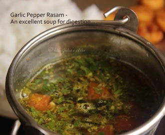 Milagu Poondu thakkali Rasam / Garlic Pepper and Tomato Soup Recipe