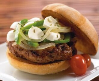 Italian Sausage Burgers with Green Peppers, Onions