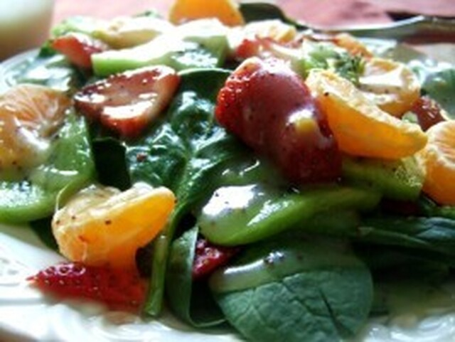 Spinach, Strawberry, Mandarin Salad With Poppy Seed Dressing