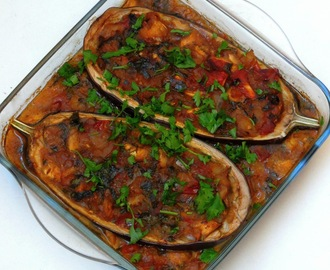 Imam Bayildi/Turkish Stuffed Eggplants