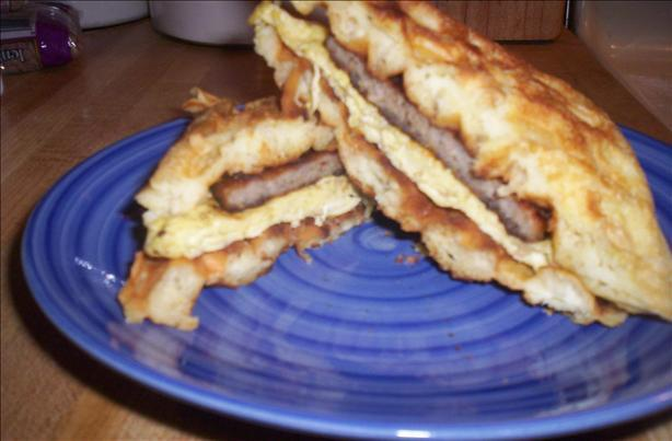 Sausage and Egg Waffle Sandwich