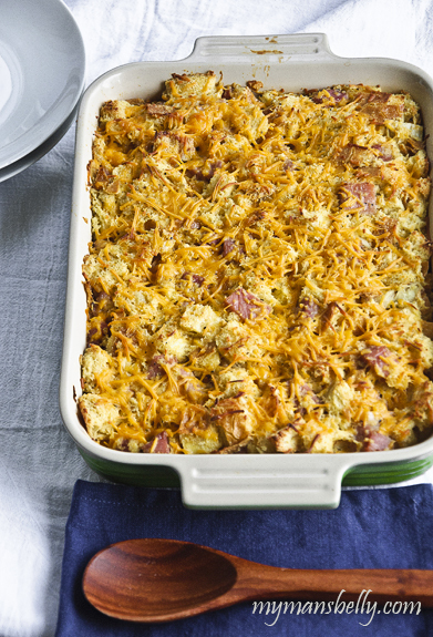 An Easy Breakfast Casserole with Ham and Cheese