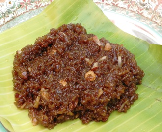 Aravanai (Rice simmered in Jaggery Syrup)