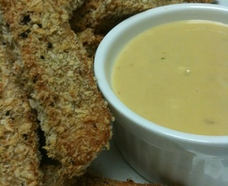 """Chicken"" Strips with Honey Mustard Dipping Sauce"