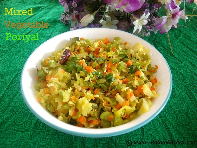 Mixed Vegetable Poriyal Recipe / Easy Vegetable Poriyal - Simple South Indian Side Dish