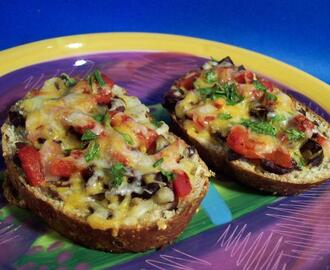 Olive and Roasted Pepper Crostini
