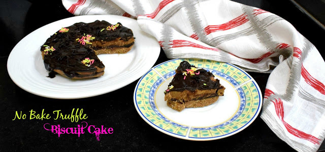 No Bake Truffle Biscuit Cake | No Bake Chocolate Fridge Cake