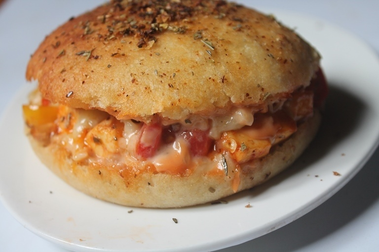 Domino's Pizza Burger Recipe - Domino's Style Pizza Burger Recipe (Veg Version)