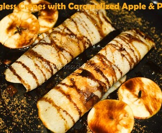 Eggless Crepes with Caramelized Apple and Pear