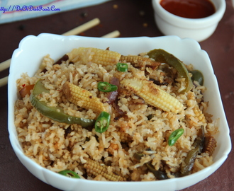 Babycorn bell pepper fried brown rice: (Indo-Chinese)