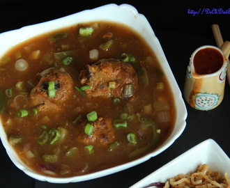 Baked vegetable Manchurian in schezwan gravy
