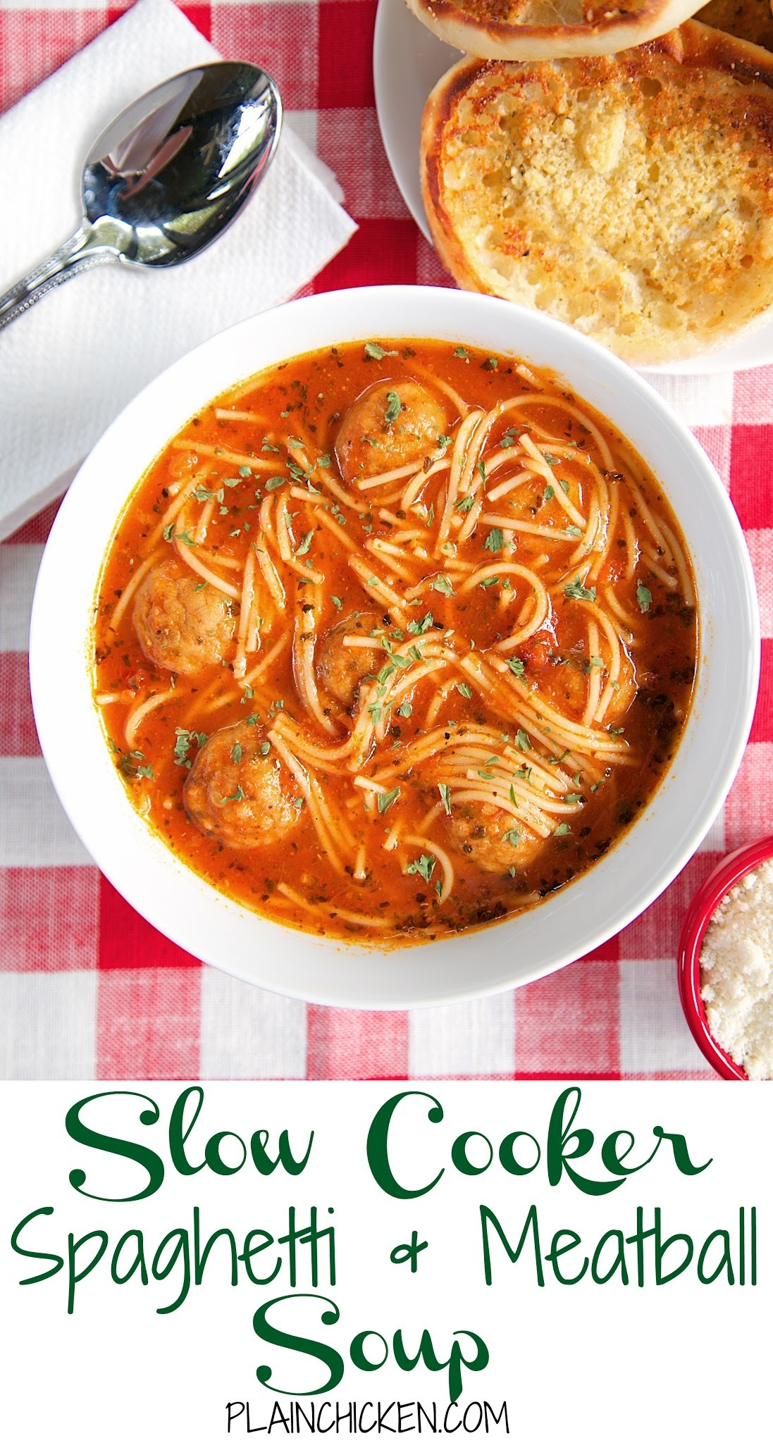 {Slow Cooker} Spaghetti and Meatball Soup