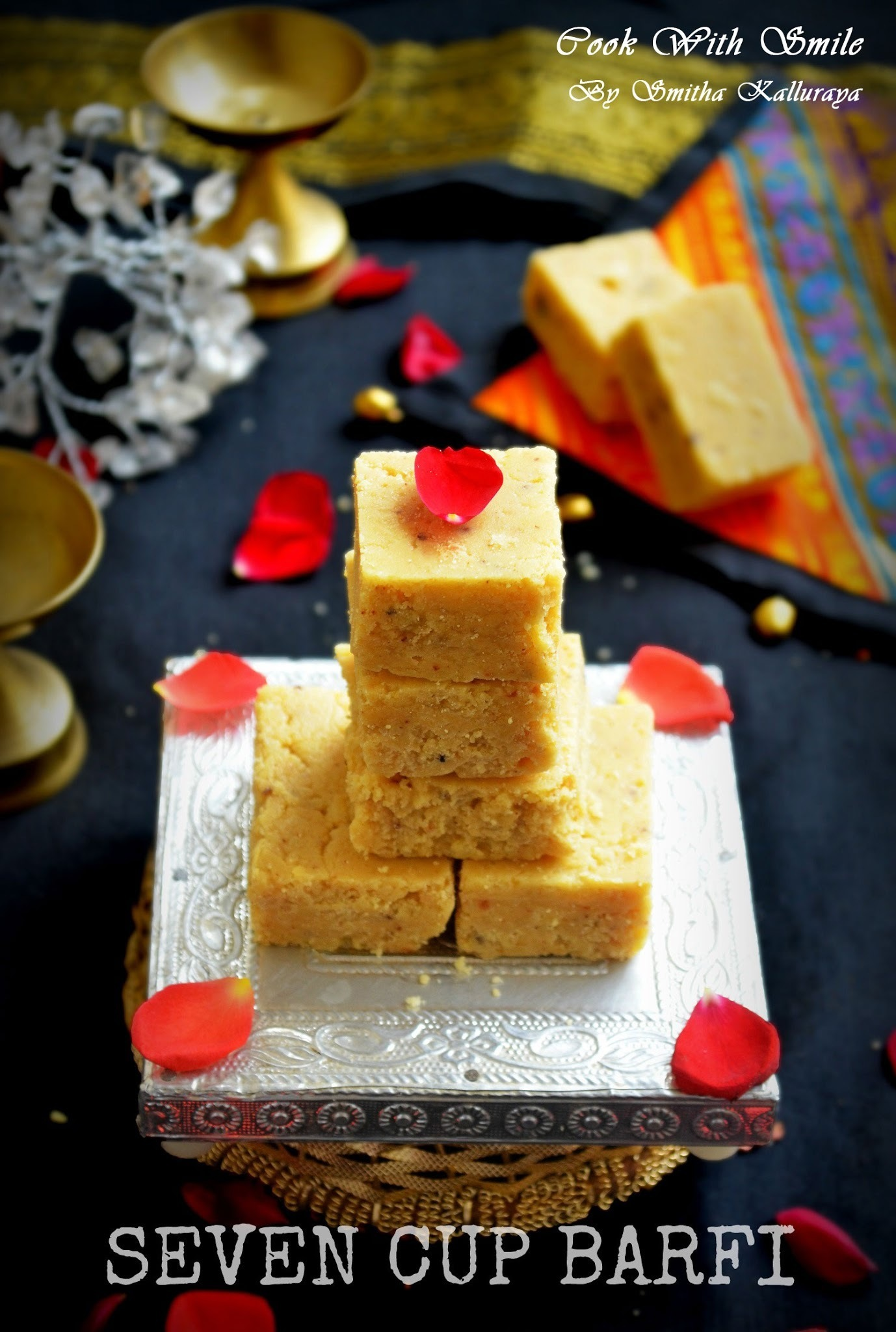 7 CUP BURFI RECIPE / SEVEN CUP BARFI / 7 CUPS SWEET ( CAKE ) RECIPE