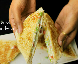 curd sandwich recipe | yogurt sandwich recipe – kids lunch box recipe