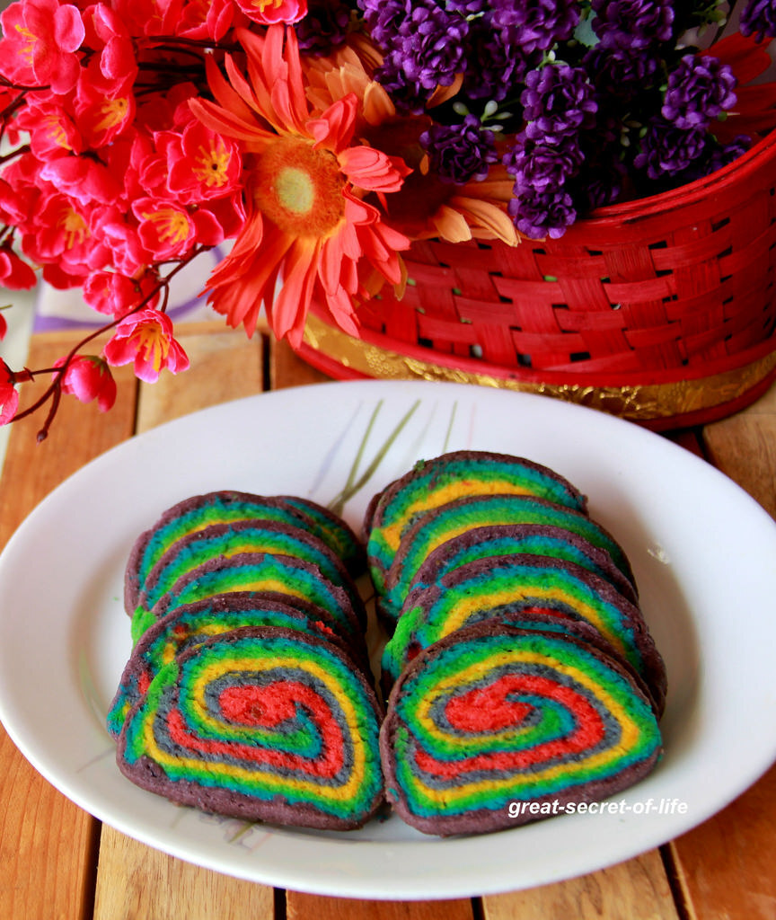 Eggless Rainbow cookies - Eggless Colorful cookies - Eggless baking - Cookies recipe - Kids friendly recipe - Party Food Recipes