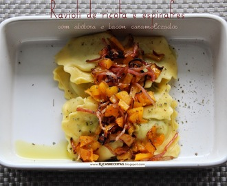Ravioli de ricota e espinafres com abóbora e bacon caramelizados | Ricota and spinach ravioli with pumpkin and bacon caramelized