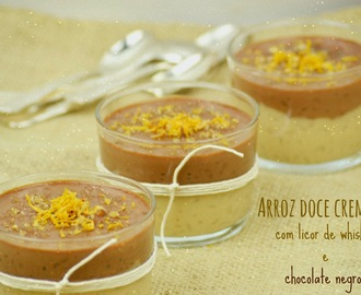 Arroz doce cremoso com licor de whisky e chocolate negro