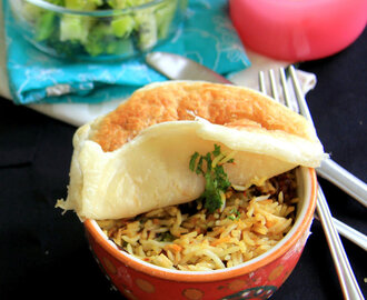 Vegetable parda biryani Recipe - Puff Pastry Vegetable parda biryani recipe - OnePot meal - Party meals - Rice recipes