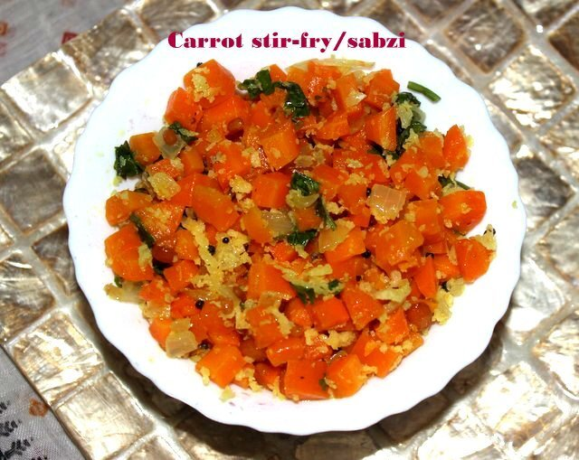 Carrot stir-fry – carrot palya – carrot poriyal – carrot subzi recipe