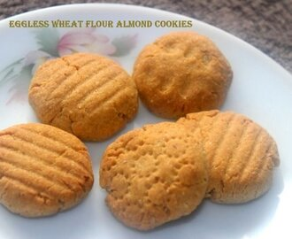 Eggless whole wheat almond cookies recipe