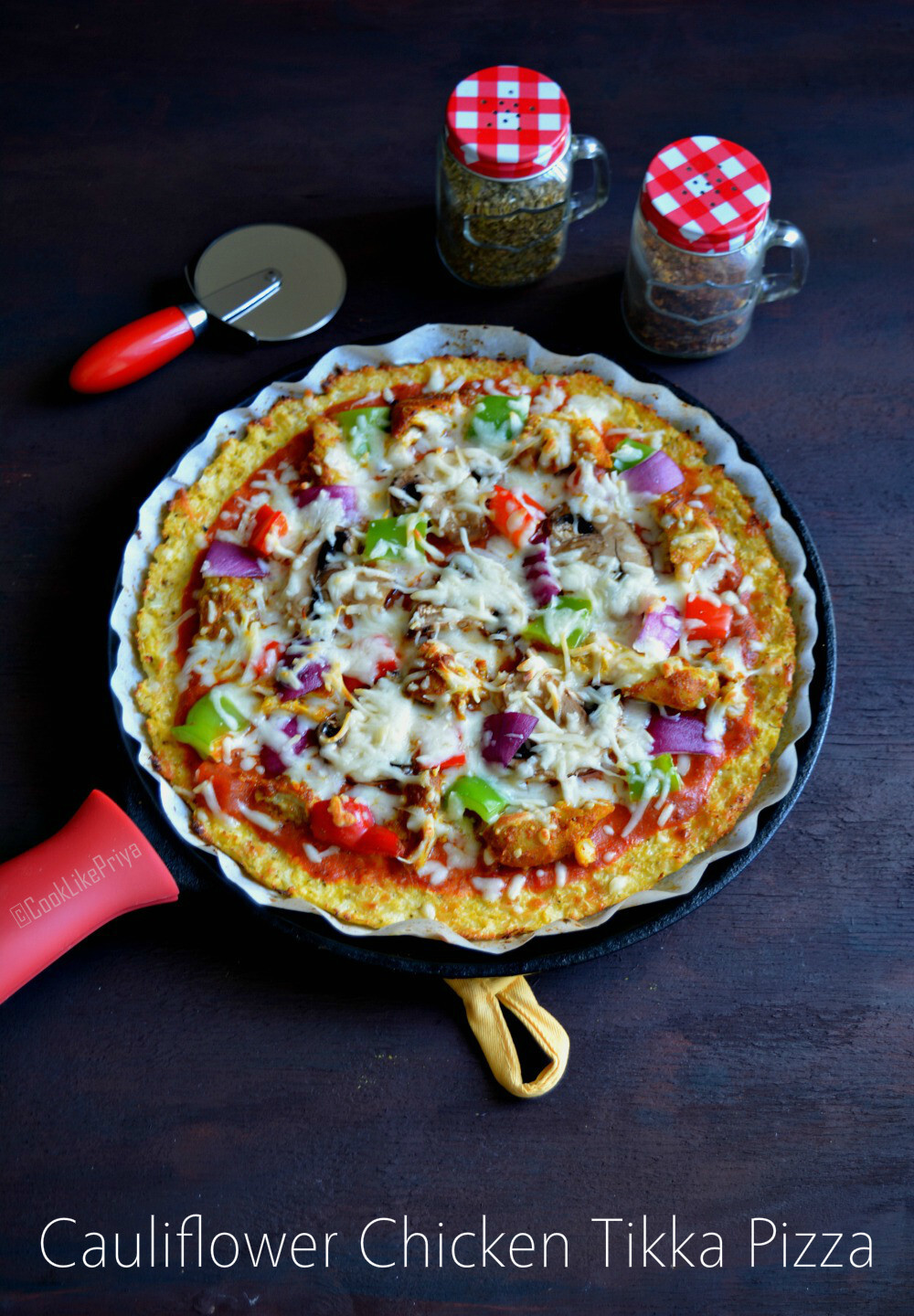 Cauliflower Pizza Crust Low Carb | Cauliflower Chicken Tikka Pizza